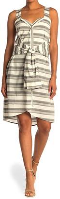 Derek Lam 10 Crosby Sleeveless Tie Waist Stripe Dress
