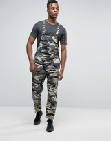 Rollas Trade Overalls Dungaree In Camo Print Green