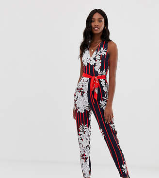 Parisian Tall tie waist jumpsuit with shadow tropical print-Multi