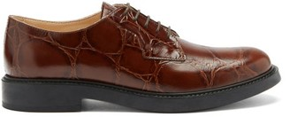Tod's Crocodile-effect Leather Derby Shoes - Tan