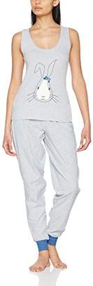 Boux Avenue Women's Bunny Applique Vest & Pant Pyjama Sets, Grey Mix