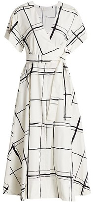 3.1 Phillip Lim Windowpane Wrap Midi Dress