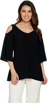 Women With Control Attitudes by Renee Cold-Shoulder Bell Sleeve Jersey Knit Top
