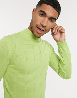 ASOS DESIGN knitted wide rib turtleneck jumper in lime