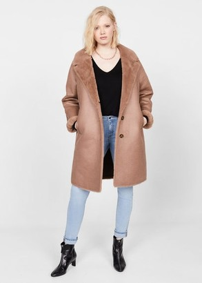 MANGO Violeta BY Faux-fur lining coat nude - XS - Plus sizes
