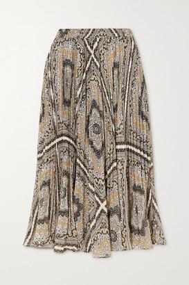 MICHAEL Michael Kors Medallion Pleated Printed Chiffon Midi Skirt