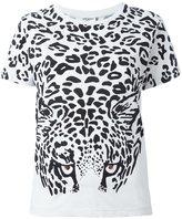 Saint Laurent leopard print T-shirt - women - Cotton/metal/glass - M
