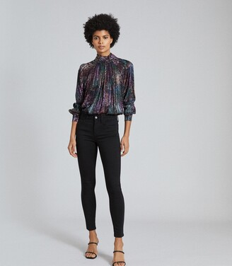 Reiss Darcey - Metallic High Neck Blouse in Black