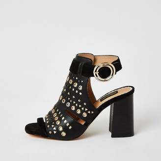 River Island Black studded cut out wide fit shoe boots