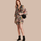 Burberry Floral Silk Dress with Gathered Sleeves