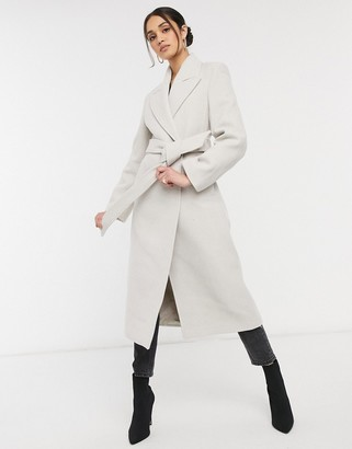 And other stories & recycled long belted wool coat with shoulder pads in beige