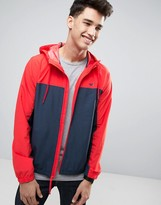 Hollister Colour Block Hooded Windbreaker In Navy/Red