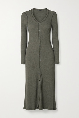 James Perse Ribbed Cotton-blend Midi Dress - Army green