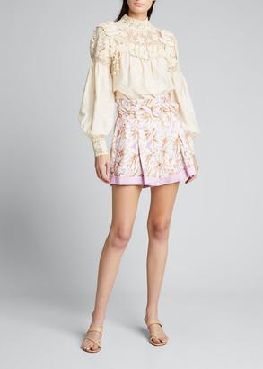 Jonathan Simkhai Lillian Floral Print Belted Linen Shorts