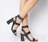 Office Hanny Triple Strap Block Heels Black Leather