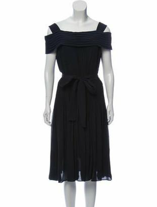 Louis Vuitton Silk Cold-Shoulder Dress Blue