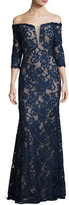 Jovani Off-the-Shoulder Beaded Floral Gown, Navy