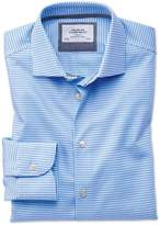 Charles Tyrwhitt Slim Fit Semi-Spread Collar Business Casual Non-Iron Modern Textures Sky Blue Cotton Dress Casual Shirt Single Cuff Size 15/34