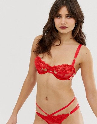Bluebella Julienne floral embroidered cutout detail bra in red