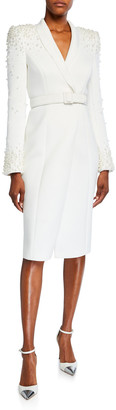 Badgley Mischka Embellished Long-Sleeve Scuba Coat Dress