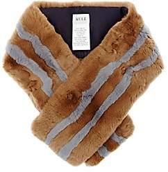 Kule Women's The Monroe Striped Rabbit Fur Pull-Through Scarf-Beige, Tan