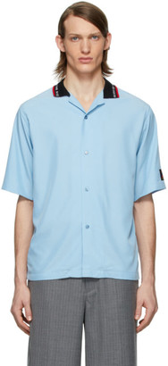 Martine Rose Blue Rib Collar Short Sleeve Shirt