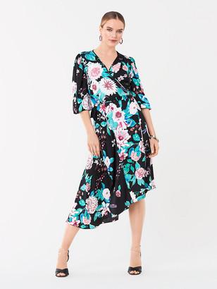 Diane von Furstenberg Audrina Jacquard Asymmetrical Wrap Dress