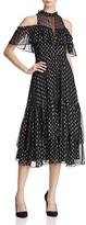 Rebecca Taylor Open Shoulder Metallic Patterned Dress