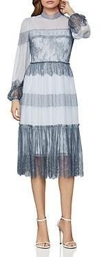 BCBGMAXAZRIA Lace-Paneled Tulle Dress