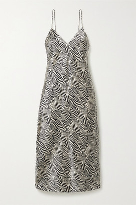 CAMI NYC The Raven Zebra-print Silk-charmeuse Midi Dress - Black