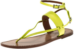 Valentino Yellow Leather Ankle Strap Flat Sandals Size 39.5