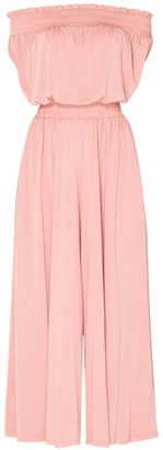 Paisie Bardot Jumpsuit With Elasticated Shoulder & Waistband In Dusty Pink