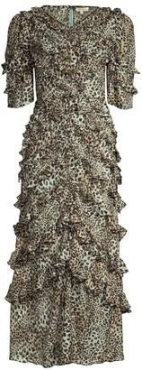Rebecca Taylor Lynx Silk Ruffle Dress