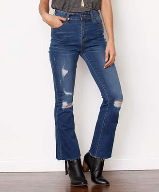 Egs By Eloges egs by eloges Women's Denim Pants and Jeans semi - Blue Distressed Wide-Leg Jeans - Women