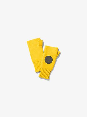 MICHAEL Michael Kors MK Logo Patch Ribbed Nylon-Blend Fingerless Gloves - Bright Dandelion - Michael Kors