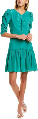 Rebecca Taylor Ruched Silk Drop Waist Dress