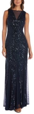 Night Way Nightway Illusion-Trim Sequin Gown
