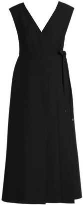 Valentino Wool & Silk Apron Wrap Dress