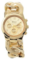 Geneva Platinum Women's Round Face Stainless Steel Polished Link Watch
