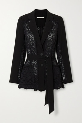 Jonathan Simkhai Lace And Grain De Poudre Blazer - Black