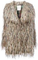 Marco De Vincenzo fur effect midi coat - women - Silk/Polyester/Wool - 40