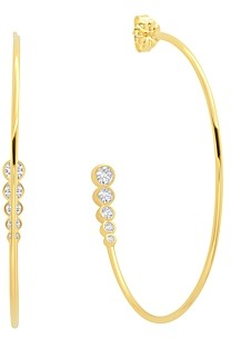 Crislu 18K Gold-Plated Cubic Zirconia Hoop Earrings