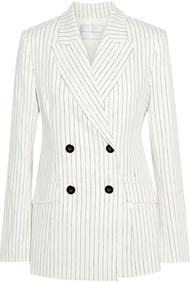 Rebecca Vallance Tate Double-breasted Pinstriped Linen-blend Blazer