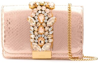 Gedebe Clicky snakeskin effect clutch