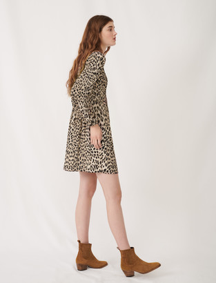 Maje Plissee animal print dress
