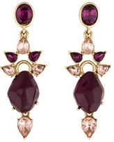 Oscar de la Renta Purple Crystal Drop Earrings