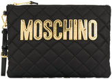 Moschino quilted logo clutch
