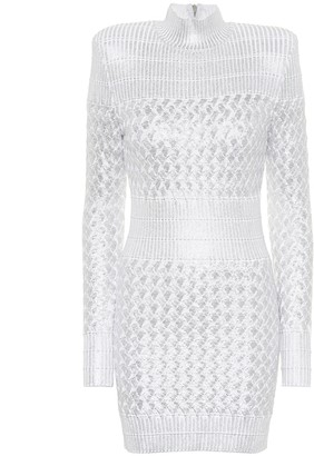 Balmain Knitted metallic minidress