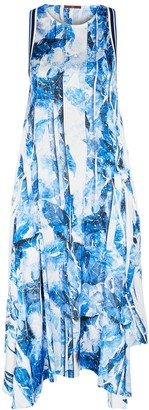 High Self-centred Printed Satin Midi Dress