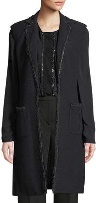 St. John Soft Boucle Knit Vest w/ Patch Pocket & Chain Trim